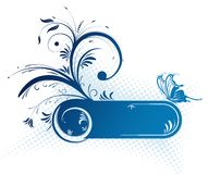 Floral frame. With butterfly, element for design, vector illustration Royalty Free Stock Image