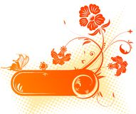 Floral frame. With butterfly, element for design, vector illustration Royalty Free Stock Photo