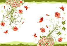 Floral frame. Grunge floral frame with butterfly, element for design, vector illustration Stock Images