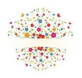 Floral frame. Spring floral frame with butterflies Stock Illustration