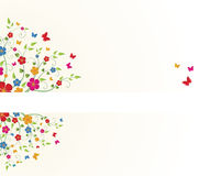 Floral frame. Spring floral frame with butterflies Royalty Free Stock Image