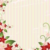 Floral frame. On striped background Royalty Free Illustration