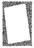 Floral frame. Florar frame hand drawn black and white vector Royalty Free Stock Photography