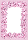 Floral frame. Styled pink floral frame, relief border Royalty Free Stock Photography