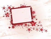 Floral frame. Red floral frame for text Stock Illustration