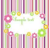 Floral frame. Flower frame on a striped color background Royalty Free Stock Photo