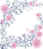 Floral frame. Abstract floral frame with pink flowers Stock Photo