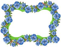 Frame with blue flowers isolated Royalty Free Stock Photography