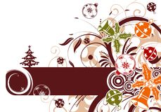 Floral frame with baubles Royalty Free Stock Images