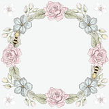 Floral frame and bees engraving style Royalty Free Stock Image