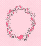 Floral frame with bird Stock Photo