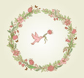 Floral frame and bird Stock Images