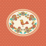 Floral frame with bird. Royalty Free Stock Images