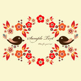 Floral frame with birds Royalty Free Stock Photography