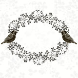 Floral frame with birds.  Illustration with place for text,  can Royalty Free Stock Photos