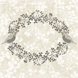 Floral frame with birds.  Illustration with place for text,  can Royalty Free Stock Image
