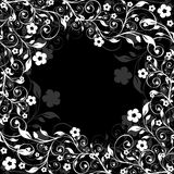 Floral frame on a black background royalty free stock photography
