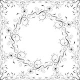 Floral frame black and white. Vector illustration Royalty Free Stock Images