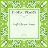 Floral frame with blooming green peas Stock Photos