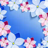 Floral frame with blue - pink 3d flowers sakura Stock Photo