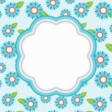 Floral frame. Blue floral frame. Vector illustration Stock Images