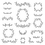 Floral frame, border, wreath, dividers, calligraphic shapes set. Stock Photos