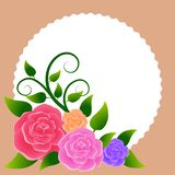 Floral frame with bouquet of roses. Ideal for integrating a personalized message, dedication or text. Illustration stock illustration