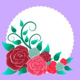 Floral frame with bouquet of roses. Ideal for integrating a personalized message, dedication or text. Illustration vector illustration