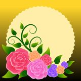 Floral frame with bouquet of roses. Ideal for integrating a personalized message, dedication or text. Illustration royalty free illustration