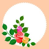Floral frame with bouquet of roses. Ideal for integrating a personalized message, dedication or text. Ornament. Decorative. Illustration royalty free illustration