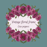 Floral frame with bouquets of poppies Royalty Free Stock Photo