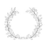 Floral frame Branch with leaves wreath decor Nature background Royalty Free Stock Photo