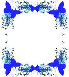 Floral frame with butterflies in blue isolated Stock Image