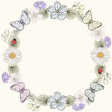 Floral frame and butterflies in engraving style Stock Photo