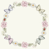 Floral frame and butterflies in engraving style Royalty Free Stock Images
