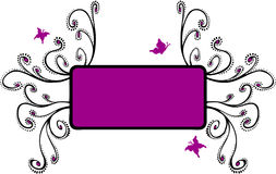 Floral Frame with Butterflies- Magenta Royalty Free Stock Photography