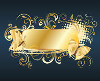 Floral frame with butterfly. Golden floral frame with butterfly Royalty Free Stock Photography