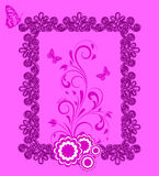 Floral frame with butterfly. Floral frame with butterfly,  and flower dahlia. Element for design.  illustration Royalty Free Stock Photo