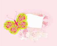 Floral frame with butterfly. Illustration Stock Image