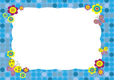 Floral frame. Butterfly blue, yellow Stock Images