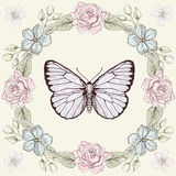 Floral frame and butterfly engraving style. Hand drawn floral frame and butterfly. Colorful illustration. Vintage engraving style Stock Photography