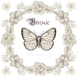Floral frame and butterfly engraving style. Hand drawn floral frame and butterfly. Vintage engraving style Royalty Free Stock Photography