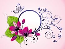 Floral frame with butterfly and flowers Stock Photo