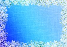 Floral frame with canvas texture Stock Images