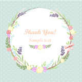 Floral frame. card design. Vintage vector frame with floral elements. summer flower and leaf elements. wedding wreath. thank you Royalty Free Stock Photography