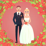 Floral frame cartoon wedding couple Royalty Free Stock Photo