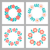 Floral Frame Collection. Cute retro flowers Stock Photos