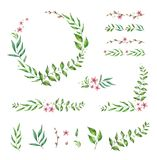 Floral Frame Collection and elements. Set of cute retro flowers arranged un a shape of the wreath. stock illustration