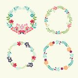 Floral Frame Collection Retro Flowers Wreath Stock Photo