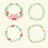 Floral Frame Collection retro flowers wreath Royalty Free Stock Image